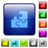 Set of color puzzle glass web buttons