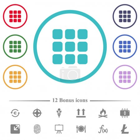 Illustration for Small thumbnail view mode flat color icons in circle shape outlines. 12 bonus icons included. - Royalty Free Image