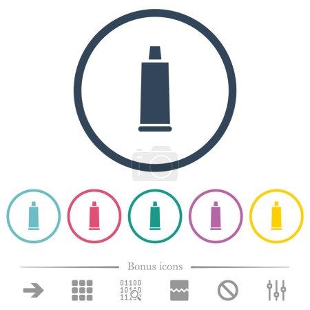 Illustration pour Dentifrice tube couleurs plates icônes dans les contours ronds. 6 icônes bonus incluses. - image libre de droit