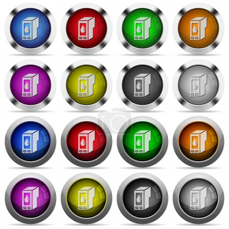 Illustration for Set of Ink cartridge glossy web buttons. Arranged layer structure. - Royalty Free Image