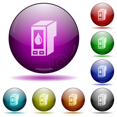 Ink cartridge glass sphere buttons