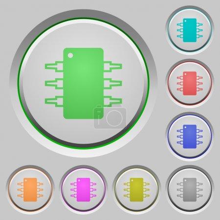 Illustration for Set of color Integrated circuit sunk push buttons. - Royalty Free Image