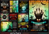 Halloween Party Flyer with creepy colorful elements with a black portion of background for your text