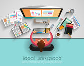 Ideal Workspace for teamwork and brainsotrming with Flat style A lot of design elements are included: computers mobile devices desk supplies pencilcoffee mug sheeetsdocuments and so on