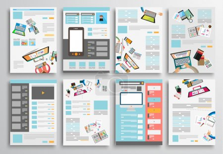 Illustration pour Set of Flyer Design, Web Templates. Brochure Designs, Technology Backgrounds. Mobile Technologies, Infographic  ans statistic Concepts and Applications covers. - image libre de droit