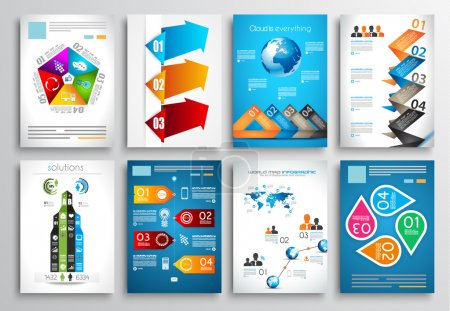 Illustration for Set of Flyer Design, Web Templates. Brochure Designs, Technology Backgrounds. Mobile Technologies, Infographic  ans statistic Concepts and Applications covers. - Royalty Free Image