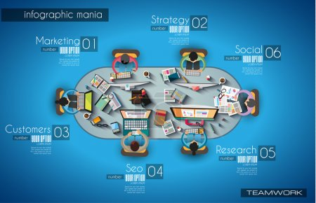 Infographic teamwork and brainsotrming