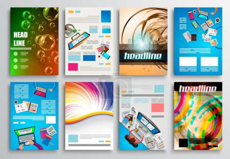 Illustration for Set of Flyer Design, Web Templates. Brochure Designs, Technology Backgrounds. Mobile Technologies, Infographic ans statistic Concepts and Applications covers - Royalty Free Image