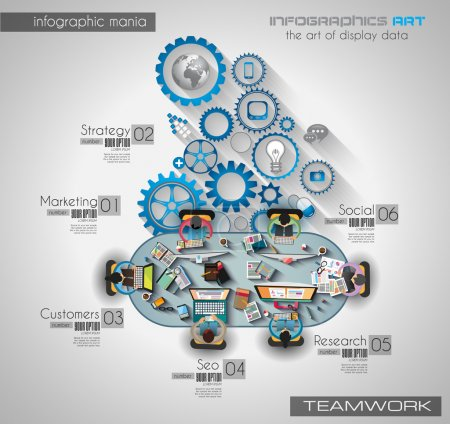 Illustration pour Travail d'équipe infographique et brainsotrming avec style Flat. Beaucoup d'éléments de conception sont inclus : ordinateurs, appareils mobiles, fournitures de bureau, crayon, tasse à café, feuilles, documents et ainsi de suite - image libre de droit