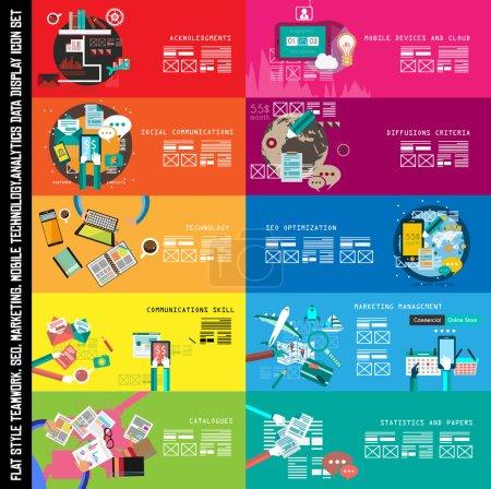 Illustration pour Bannière de travail d'équipe infographique Set et remue-méninges avec style plat. Beaucoup d'éléments de conception sont inclus : ordinateurs, appareils mobiles, fournitures de bureau, crayon, tasse à café, feuilles, documents et ainsi de suite - image libre de droit