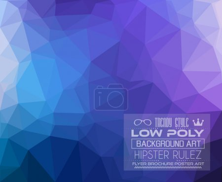Illustration for Low Poly triangular trendy hipster background for your retro flyer, stylish brochure, poster background and vintage applications. - Royalty Free Image