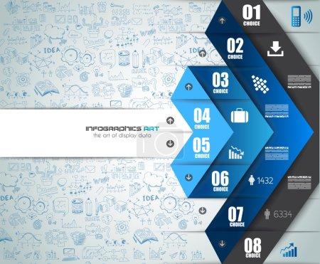 Illustration pour Travail d'équipe infographique et remue-méninges avec style Flat. Beaucoup d'éléments de conception sont inclus : ordinateurs, appareils mobiles, fournitures de bureau, crayon, tasse à café, feuilles, documents et ainsi de suite - image libre de droit