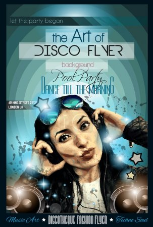 Disco Flyer with Girl Dj listening to music
