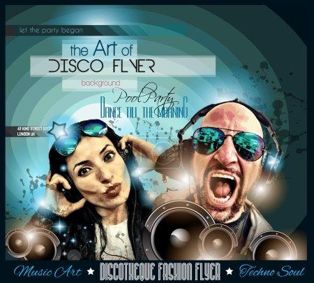 Club Disco Flyer Set with DJs