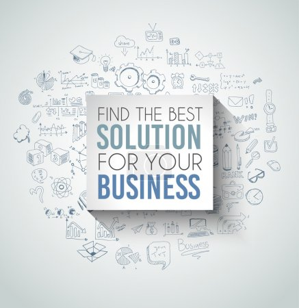 Illustration for Best Solution for Your Business Slogan over a squared flat panel with soft shadow over an hand drawn doodles skeches collection of symbols, graphs, maths, infographics ans so on. - Royalty Free Image