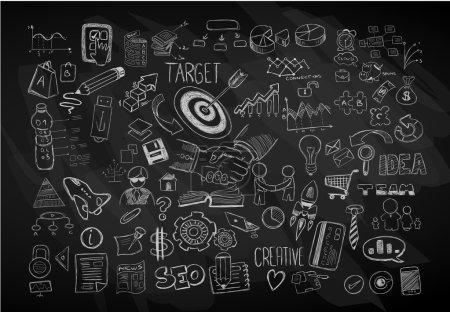 Illustration pour Fond abstrait moderne avec croquis de gribouillis dessinés à la main pour les dessins de prospectus, les mises en page de brochures, les modèles de cartes de visite, les fonds d'écran de sites Web, les couvertures de magazines ou les présentations . - image libre de droit