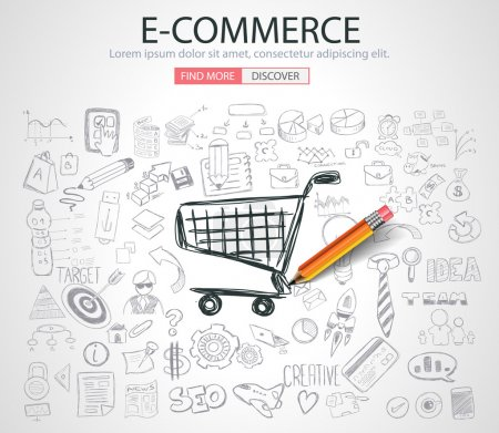 E-commerce Concept with Doodle design style