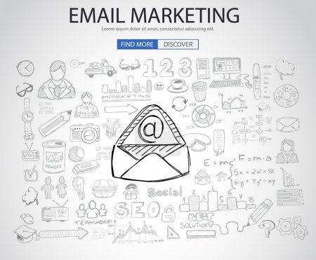 Email Marketing concept with Doodle