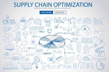 Illustration for Supply Chain optimization concept with Doodle design style :finding solution, brainstorming, creative thinking. Modern style illustration for web banners, brochure and flyers. - Royalty Free Image