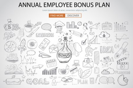 Illustration for Employee Bonus Benefit Plan concept with Doodle design style online purchases, banking, money spending. Modern style illustration for web banners, brochure and flyers. - Royalty Free Image