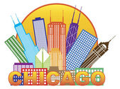 Chicago City Skyline Color in Circle Illustration