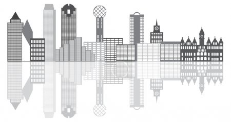 Dallas City Skyline Grayscale Illustration