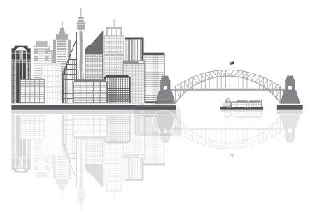 Sydney Australia Skyline Grayscale Illustration