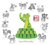 Chinese New Year Snake Color with Twelve Zodiacs Vector Illustration