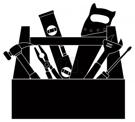 Construction Tools in Tool Box Black and White Illustration