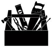Stavební nástroje Nástroj Box černobílý obrázek