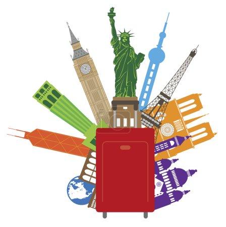 Photo pour Bagages pour Voyage dans le Monde avec le Pays d'Europe Asie Etats-Unis Illustration Couleur - image libre de droit