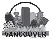Vancouver British Columbia Canada City Skyline Inside Circle Grayscale Vector Illustration