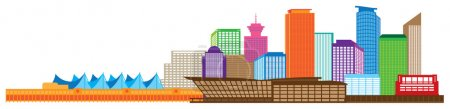 Vancouver BC Canada Skyline Color Vector Illustration