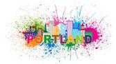 "Постер, картина, фотообои ""Портленд Орегон Skyline краска брызги векторные иллюстрации"""