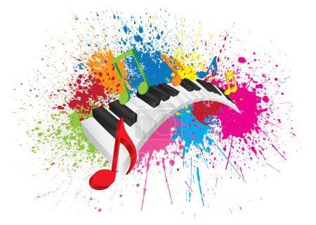 Illustration pour Clavier pour piano avec touches ondulées noires et blanches et notes de musique colorées en peinture 3D Illustration vectorielle de couleur abstraite - image libre de droit