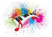 Piano Wavy Keyboard Paint Splatter Abstract Vector Illustration