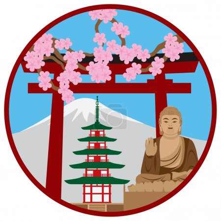 Symbols of Japan in Circle Vector Illustration