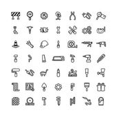 Forty nine black outline tool icons isolated on white