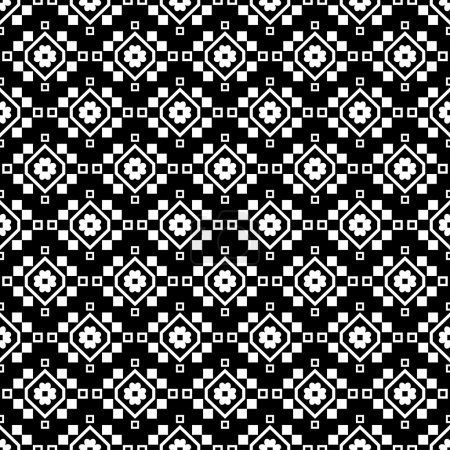 Seamless black and white vector background with decorative flowers