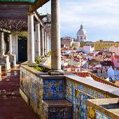 Architecture in Alfama district in Lisbon, Portugal