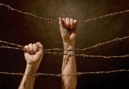 hands hanging on the barbed wire