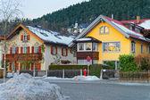 View of the typical alpine houses in Garmisch-Partenkirchen