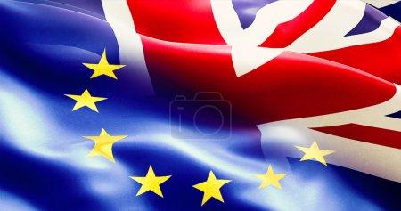 brexit half european union and united kingdom england flag