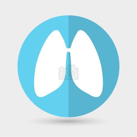 Illustration pour Poumons, icône de médecine. illustration vectorielle en cercle bleu - image libre de droit