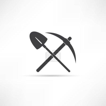 Illustration pour Choisissez et pelle symbole. illustration vectorielle sur fond blanc - image libre de droit