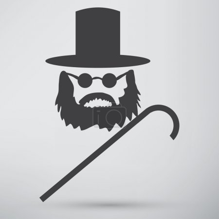 Man with stick and hat icon