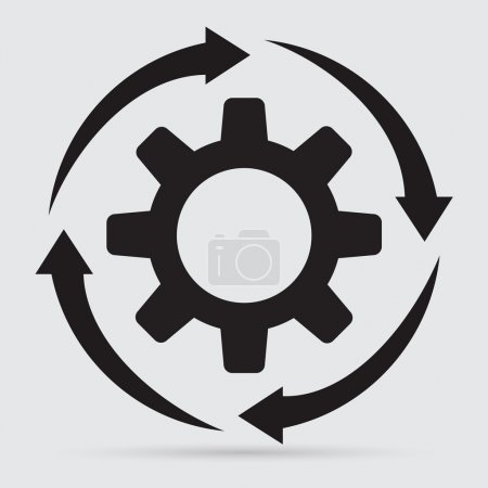 arrows with gear icon