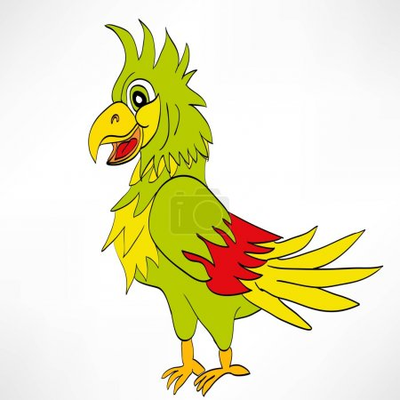 Illustration for Cartoon color parrot. vector illustration isolated on white - Royalty Free Image