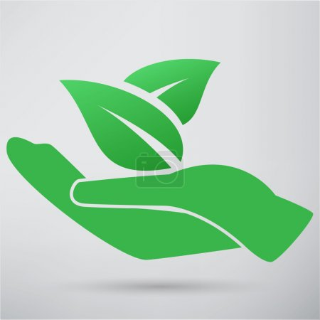Hand and plant icon. vector illustration isolated ...
