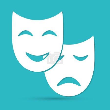 Illustration pour Masques de théâtre icône. illustration vectorielle isolée sur fond bleu - image libre de droit